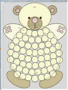 Molde para hacer alfombra de oso con pompones grandes