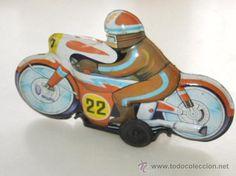 antigua moto original de hojalata juguetes roman fabricada en españa