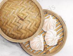 Watercolor Food, Watercolor Illustration, Graphic Illustration, Watercolor Ideas, Prawn Dumplings, Food Texture, Chibi Food, Pinterest Instagram, Food Sketch