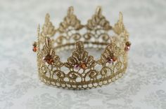 Baby Crown Newborn Crown Gold Crown Lace Crown by MiaRoseBoutique