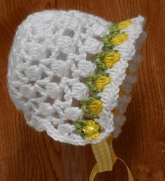 PDF CROCHET PATTERN Tulip Baby Bonnet Preemie to 6 month sizes by Easy Creations