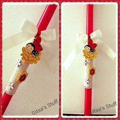 Easter Candle.. Handmade.. Red.. Rope.. Wooden Flowers..