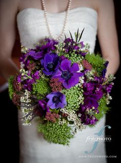 purple anemone garden bouquet  wedding flowers,http://sophisticatedfloral.com/ portland, or
