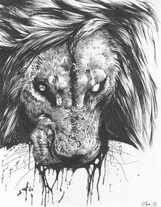 Beast Wagon Lion by SharkeyTrike on DeviantArt - Tatuering Animal Sketches, Art Sketches, Body Art Tattoos, Tattoo Drawings, Deviantart Zeichnungen, Deviantart Drawings, Lion Tattoo Design, Lion Wallpaper, Lion Of Judah