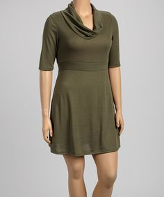 This Poliana Plus Olive Cowl Neck Dress - Plus by Poliana Plus is perfect! #zulilyfinds