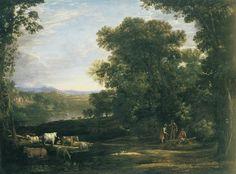 Claude Lorrain ~ Landschap met vee en boeren ~ 1629 ~ Olieverf op doek ~ 106,7 x 148,6 cm. ~ Philadelphia Museum of Art, Philadelphia