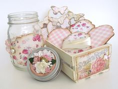 Shabby Chic Vintage Decorated Mason Jar Ribbon and Lace Storage Cards in Wooden Crate via Etsy
