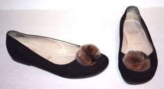 Christian Louboutin Women Flats Shoes Fur Charm Ball Sz 39 5 | eBay