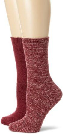 Nine West Women's Marled and Solid Flat Knit 2 Pair Boot Pack Socks, Bordeaux, One Size,$16.00