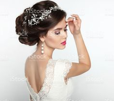 Wedding Hairstyle. Beautiful fashion bride girl model portrait. royalty-free stock photo