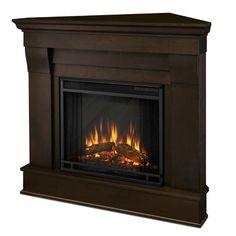 Real Flame - Chateau Corner Electric Fireplace-Dark Walnut, Dark Walnut