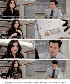 "Aria Montegomery and Ezra Fitz quote ""What do you think of my work so far?"" PLL #Ezria"
