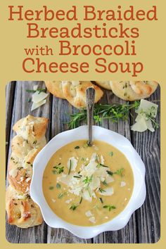 Herbed Braided Breadsticks with Broccoli Cheese Soup is super quick and easy to make! AND it's the perfect way to keep your hungry gang full and happy on busy weeknights. Our recipe is made with a can of Progresso Broccoli Cheese Soup, a can of Pilsbury Breadstick, and a few more ingredients! || cookingwithruthie.com #souprecipe #easyrecipe #autumnrecipe #breadsticks #fallfood Best Soup Recipes, Fall Recipes, Great Recipes, Broccoli Cheese Soup, Bread Rolls, Slow Cooker, Easy Meals, Fruit, Happy