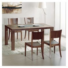 Found it at Wayfair Supply - Stark 5 Piece Dining Set Wooden Dining Table Designs, Contemporary Dining Table, Wooden Dining Tables, Glass Dining Table, Kitchen Dining Sets, Dining Room Sets, Dining Area, Kitchen Tables, Solid Wood Dining Set