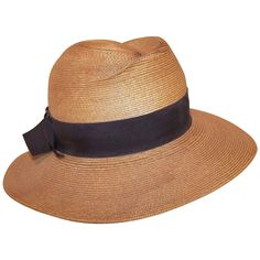 1970's Frank Olive Stylized Straw Fedora Hat | From a collection of rare vintage hats at https://www.1stdibs.com/fashion/accessories/hats/