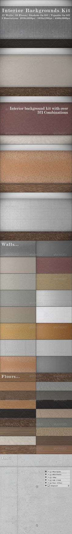 Interior Backgrounds Kit  #GraphicRiver        Interior Backgrounds Kit   17 Walls  19 Floors