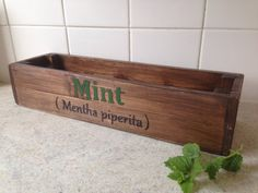 Beautifully finished Herb window box /planter handcrafted light oak finish hand painted lettering indoor or out door use