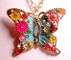 Bahama Beach Butterfly Insect Necklace  by FashionCrashJewelry