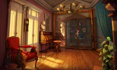#art #gameart #gaming #gamedev #gamedevelopmentart #game #waitingroom #piano #room  #vintage #massive #furniture