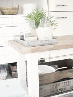 The Paper Mulberry: Rustic White.just love SMEG fridges Rustic Kitchen, Kitchen Dining, Kitchen Decor, Kitchen Island, Kitchen White, Ikea Island, Kitchen Tray, Neutral Kitchen, Island Table