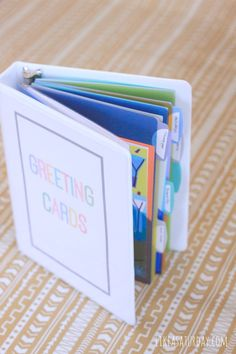 Greeting Card Organizer  Looks like an easy project so I can buy cards in advance and actually find them!                                                                                                                                                      More