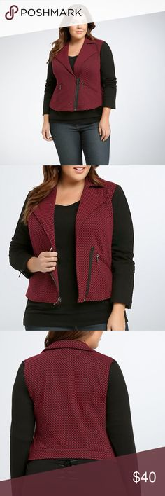 """Torrid Checkered Print Moto Jacket """"Check mate, this is one look we're saying yaass to. A moto style gets cozy thanks to a red and black checkered knit. Stretchy black sleeves are a sleek contrast to the quirky print, but the moto details (zip pockets, moto collar, zip front) add a tough touch. Size 1 measures 23 3/4"""" from shoulder. Polyester/cotton/spandex."""" New with tags, size 1X. torrid Jackets & Coats"""