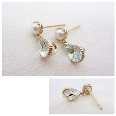 K18YG aquamarine pearl earrings #tocca #japan