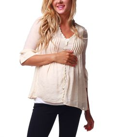 Taupe Sheer Back Maternity & Nursing Top | Daily deals for moms, babies and kids