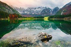 Mirror - Sunset at Lago di Fusine, Italy.
