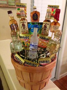 Homemade liquor bouquet. Because what guy wants flowers? - #because #bouquet #flowers #guy #homemade #liquor #wants