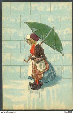 KL104 ENFANTS OMBRELLE Gaufrée DUTCH CHILDREN UMBRELLA WOODEN SHOES Embossed - Illustrateurs & Photographes