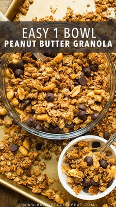 An easy, one bowl, make-ahead granola recipe loaded with peanut butter. It's a recipe that you need to make! Savory Breakfast, Breakfast Bowls, Best Breakfast, Mexican Breakfast, Breakfast Pizza, Brunch Recipes, Breakfast Recipes, Snack Recipes, Cooking Recipes