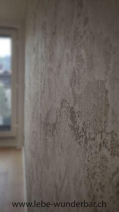 Wandgestaltung Kalk Travertino Romano Oikos Beton Grau Handarbeit  Individuell Natürlich Wanddesign Lebewunderbar.ch