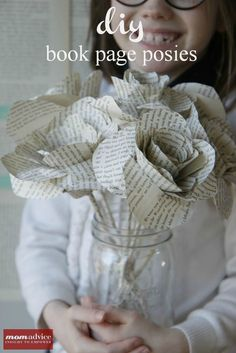 DIY Book Page Flower Tutorial- what a great gift to give for teacher appreciation week!