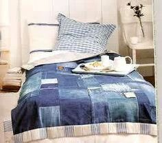 Denim Patchwork Comforter #Denim #Comforter #Quilt