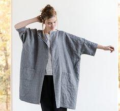 Washed oversized long linen - wool blend kimono/cardigan/jacket