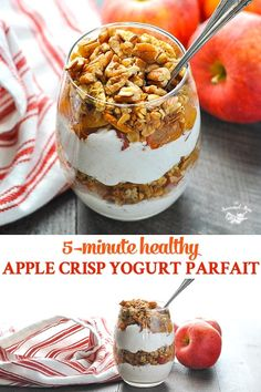 A Healthy Apple Crisp Yogurt Parfait is a delicious breakfast, snack or dessert that you can prepare in advance and enjoy on the go! Loaded with protein from Greek yogurt, fruit, and healthy fats, it's a satisfying and nourishing option that Fruit Parfait, Healthy Yogurt Parfait, Healthy Fruit Smoothies, Greek Yogurt Parfait, Healthy Apple Snacks, Greek Yogurt Dessert, Greek Yogurt Breakfast, Healthy Protein Breakfast, Breakfast Snacks