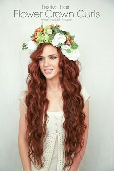 The Freckled Fox : Festival Hair Week: Flower Crown Curls