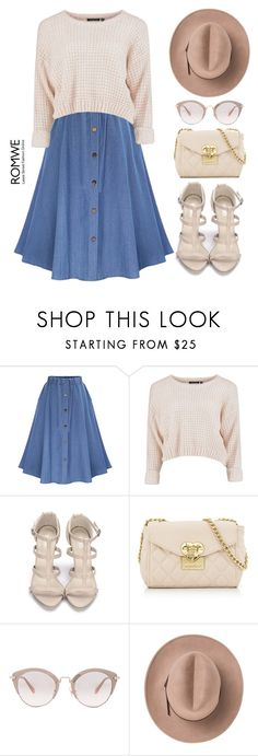 """ROMWE - Elastic Waist Denim Flare Skirt With Buttons"" by bmaroso ❤ liked on Polyvore featuring WithChic, Love Moschino, Miu Miu and Marc"