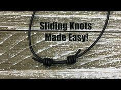 Sliding Knot In Elastic - Bracelet Jewelry Tutorial Jewelry Knots, Bracelet Knots, Knot Necklace, Paracord Bracelets, Bracelet Making, Macrame Jewelry, Crystal Necklace, Square Knot Bracelets, Diy Bracelets Easy