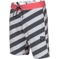 Volcom Men's Stripey Slinger Boardshorts ($55) ❤ liked on Polyvore featuring men's fashion, men's clothing, men's swimwear, grey cool, mens apparel, mens boardshorts, mens clothing, mens board shorts swimwear and mens swimwear