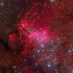 The Prawn Nebula.. Nearby hot, massive stars, millions of years young, radiate the nebula with invisible ultraviolet light, stripping electrons from atoms. The electrons eventually recombine with the atoms to produce the visible nebular glow, dominated by the red emission of hydrogen. At an estimated distance of 6,000 light-years, the region shown is about 250 light-years across.