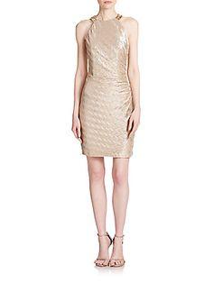 $89.99 Embellished Metallic Jersey Dress