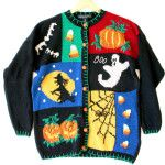 Witch Ghost & Candy Corn Ugly Halloween Sweater - The Ugly Sweater Shop Funny Halloween Costumes, Halloween Outfits, Halloween Clothes, Sweater Shop, Ugly Sweater, Men Sweater, Hocus Pocus Witches, Candy Corn, Vintage Sweaters