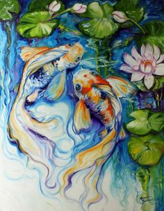 """""""KOI KOI LILY"""" by Marcia Baldwin: My newest koi original oil painting for I love the swirling waters and the dancing lily pads. Two koi fish happy in their surroundings of waterlilies and lily pads. Art Koi, Fish Art, Koi Painting, Painting Prints, Fish Paintings, Koi Kunst, Lily Pictures, Art Vampire, Framed Art Prints"""