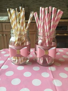 Minnie Mouse Pink And Gold Birthday Birthday Decorations In 2019 - Jazmine Wofford - Birthday Party Minnie Mouse First Birthday, Minnie Mouse Baby Shower, Baby Girl 1st Birthday, Minnie Mouse Pink, Minnie Mouse Party, Mouse Parties, First Birthday Parties, Birthday Party Decorations, First Birthdays