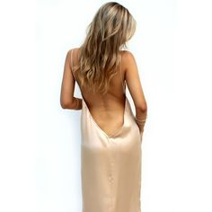 SATIN SILK CHAMPAGNE BACKLESS SLIP GOWN ($519) ❤ liked on Polyvore featuring dresses, gowns, champagne gown, convertible dress, satin gown, slip dress and silk slip dress