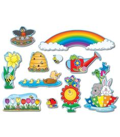 Carson Dellosa Spring Bulletin Board Set Reproducible badge and bookmark patterns 10 spring accents, largest approx. x 30 bugs Blank rainbow header Unique Bulletin Board Ideas, Teacher Bulletin Boards, Spring Bulletin Boards, Creative Teaching Press, Carson Dellosa, Learning Shapes, Teacher Created Resources, Bulletins, Spring Design