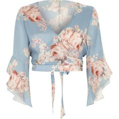River Island Blue floral wrap frill sleeve crop top ($60) ❤ liked on Polyvore featuring tops, blue, crop tops / bralets, women, 3/4 sleeve tops, blue top, cropped tops, v-neck tops and floral crop top