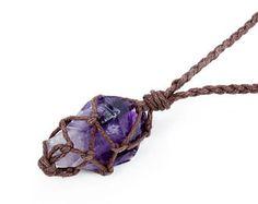 Raw Amethyst Necklace, Boho Jewelry, Raw Crystal Jewelry, February Birthstone, Reiki Necklace, Vegan Jewelry, Rough Amethyst